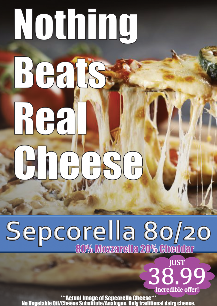Sepcorella Takeaway Grated 12kg 6x2kg Stretch Mozzarella and Cheddar