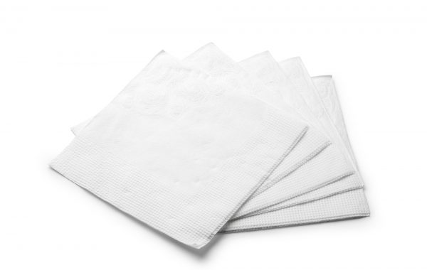 White paper napkin isolated on white background